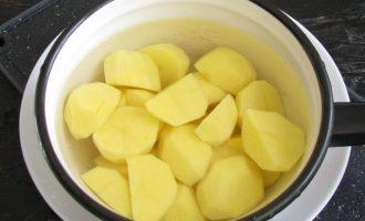 Теперь займемся приготовлением картофельного пюре. Картошку очистить, промыть. Залить тепленькой водой и поставить варить. Во время варки подсолить по вкусу.