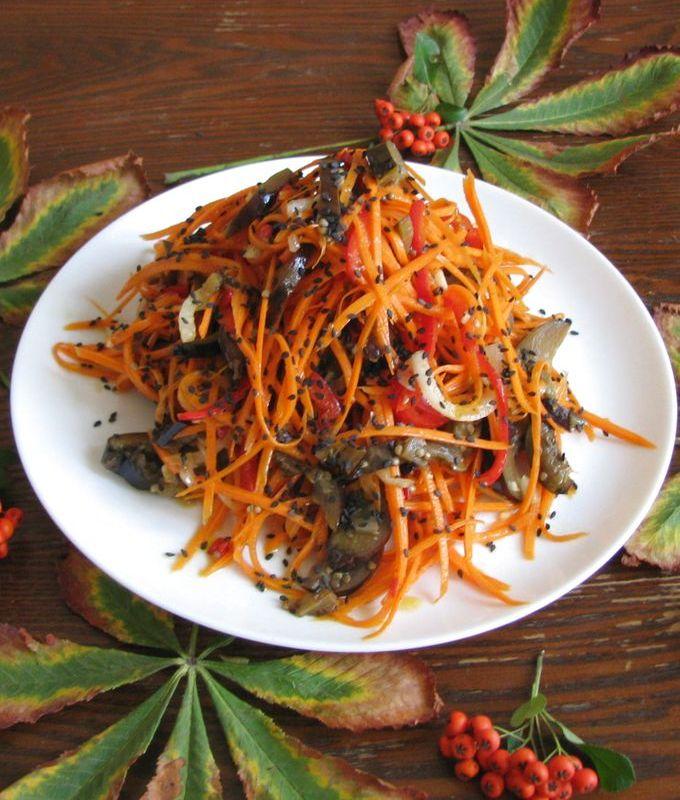 Острый салат из баклажанов и моркови