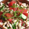 Салат из свежих помидоров, огурцов и фасоли
