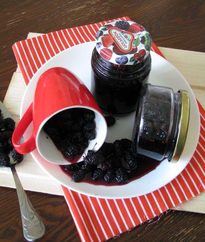 Вот такое получилось аппетитное варенье из шелковицы с целыми ягодками. Его можно потом подавать к блинчикам, панкейкам, оладьям, сладким запеканкам, а также к мороженое или прочим десертам.