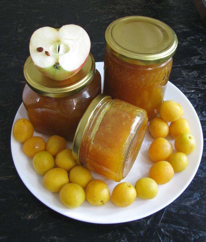 Варенье из желтой алычи и яблок