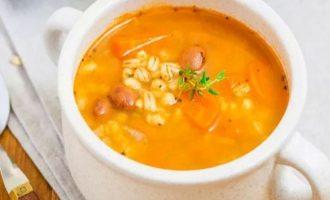 Вегетарианский овощной суп из фасоли и перловки