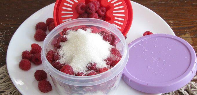 Заморозка малины с сахаром